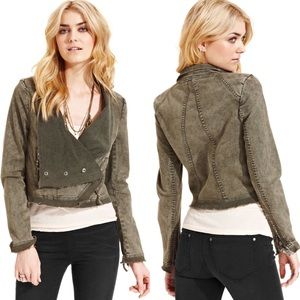 Free People Collapsing Twill Moto Jacket Military